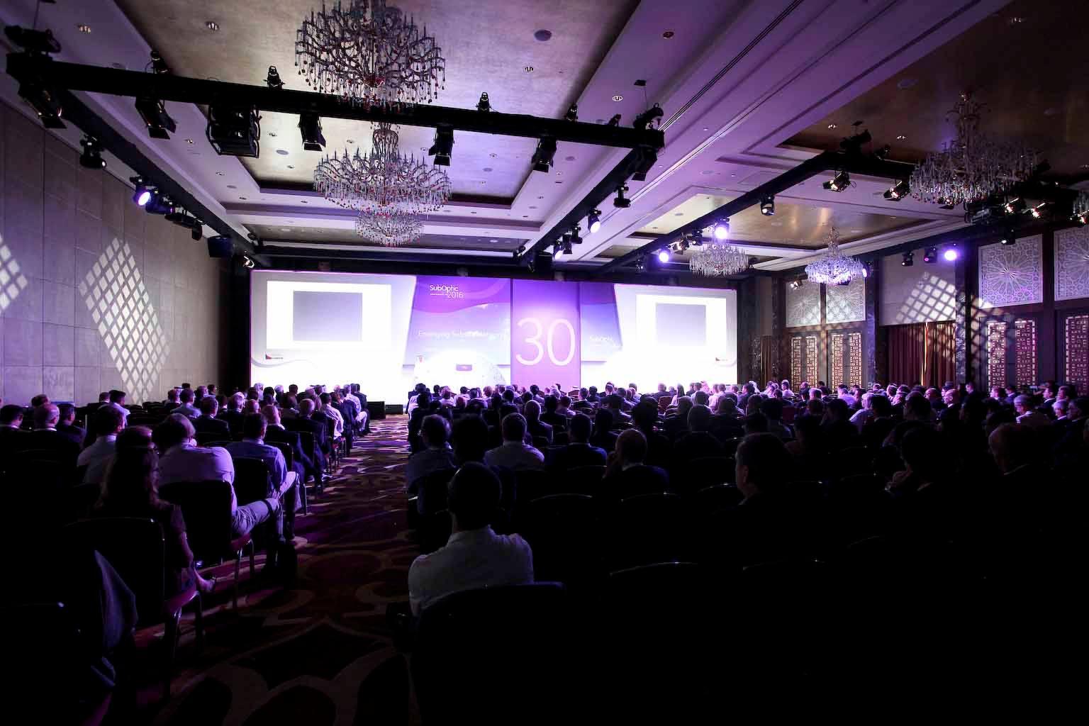 Crowd shot of the SubOptic 2016 keynote speaker.